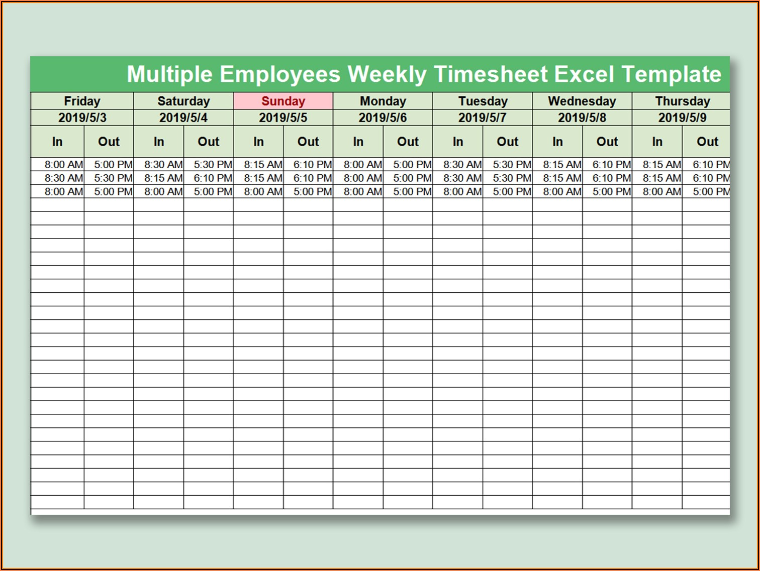 Multiple Employee Weekly Schedule Template Excel