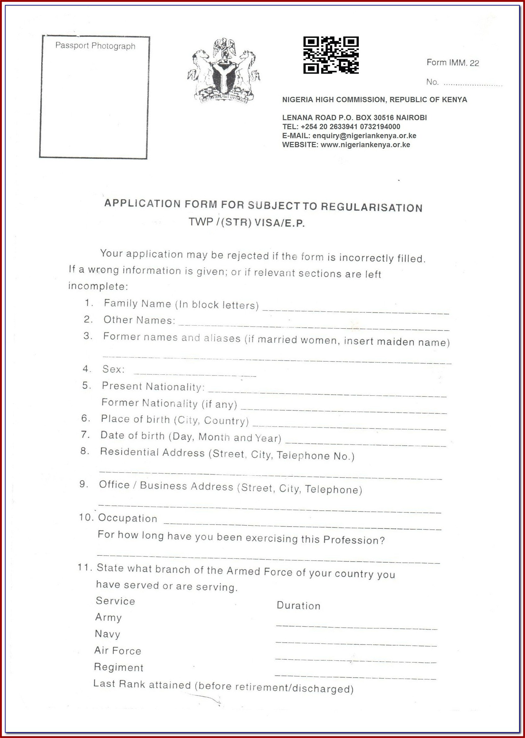 Nigeria Visa Application Form Imm 22
