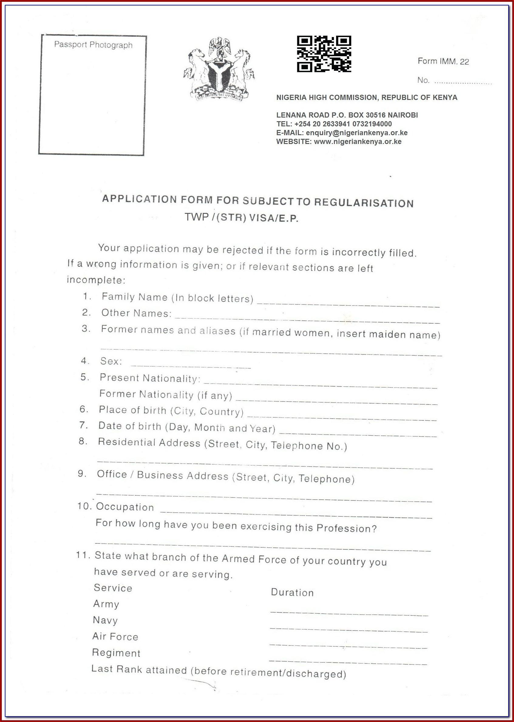 Nigeria Visa Application Form Imm 22