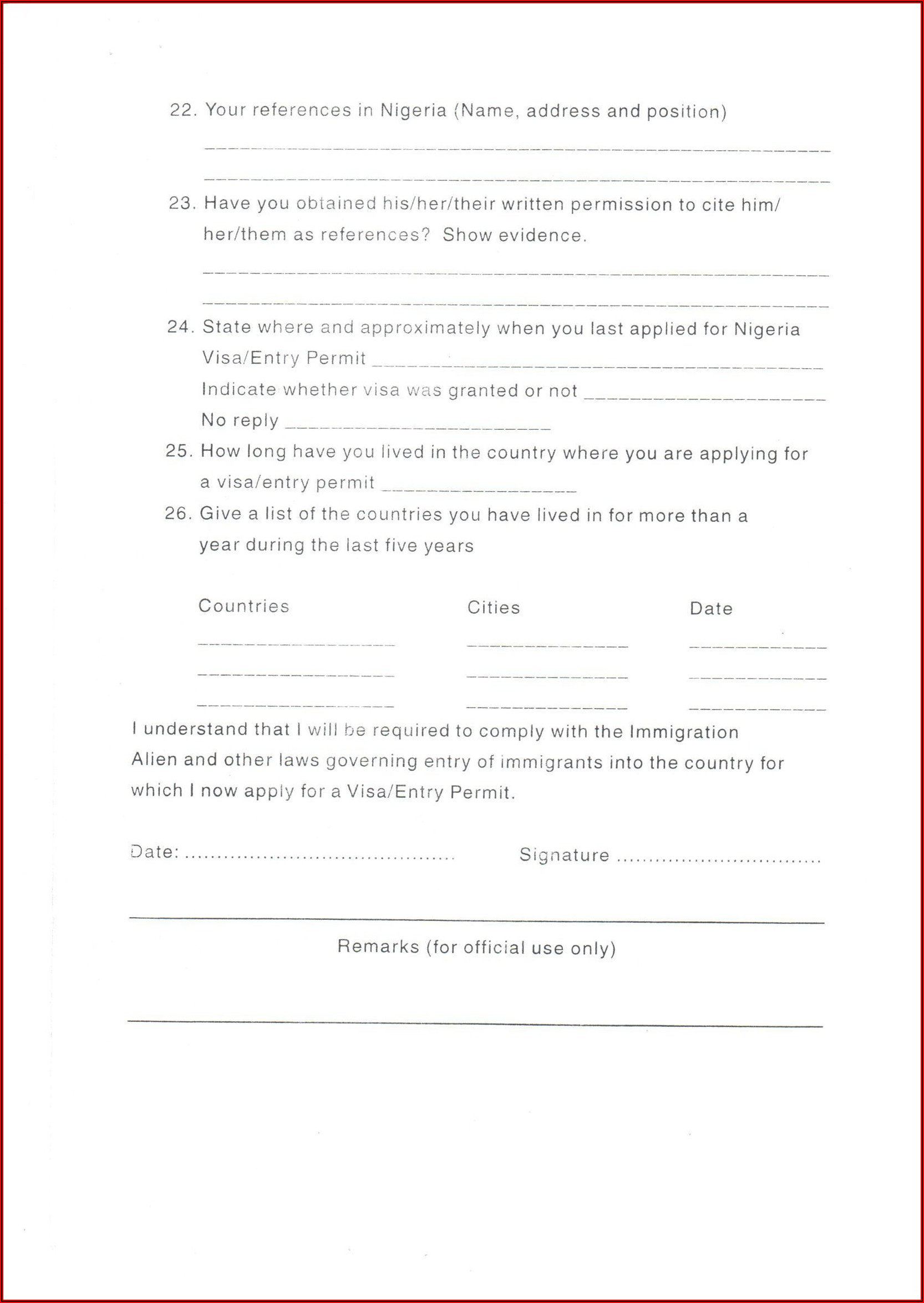 Nigeria Visa On Arrival Application Form