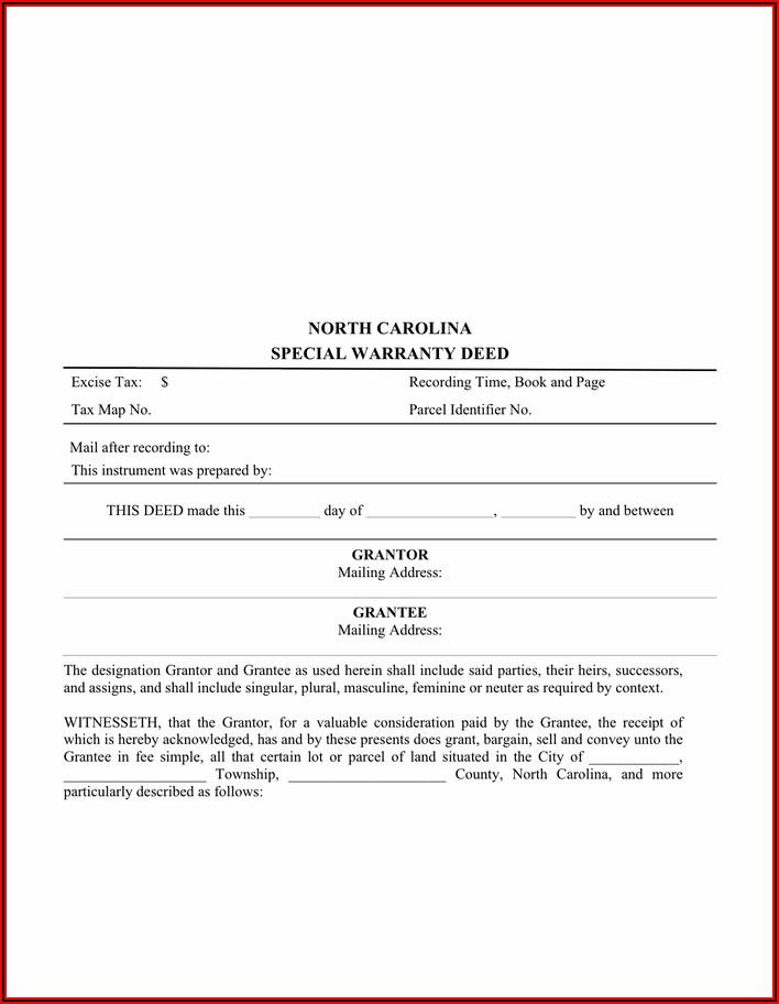 North Carolina General Warranty Deed Free Form