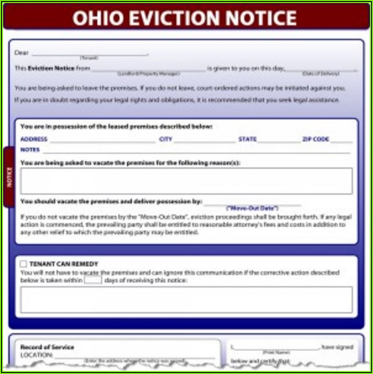 Ohio 3 Day Eviction Notice Form Pdf