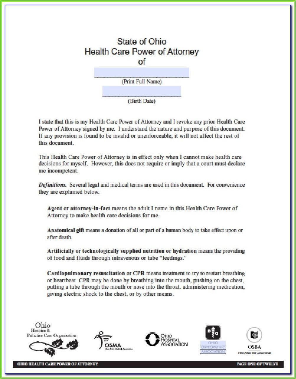 Ohio Statutory Financial Power Of Attorney Form