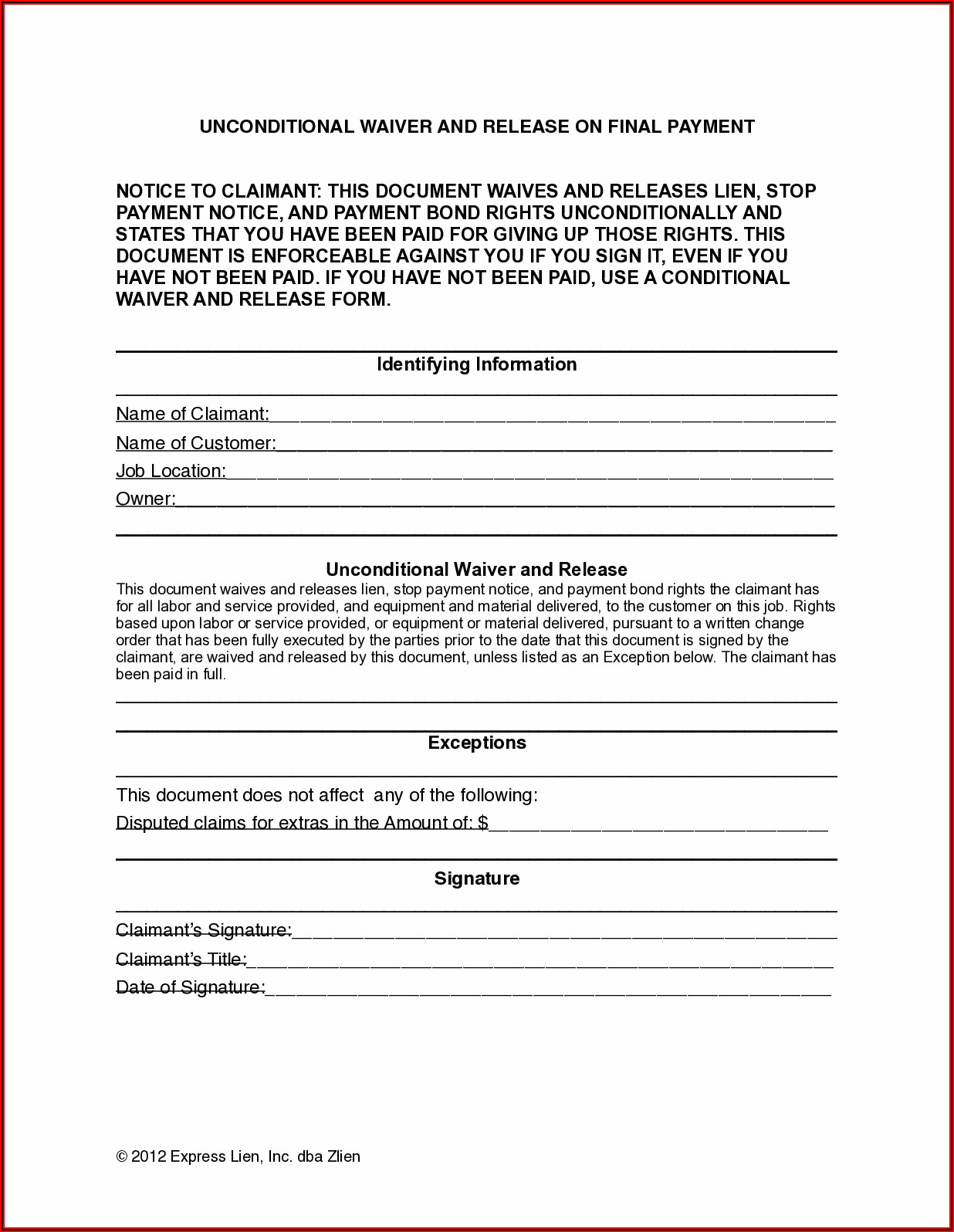 Oklahoma Lien Waiver Form