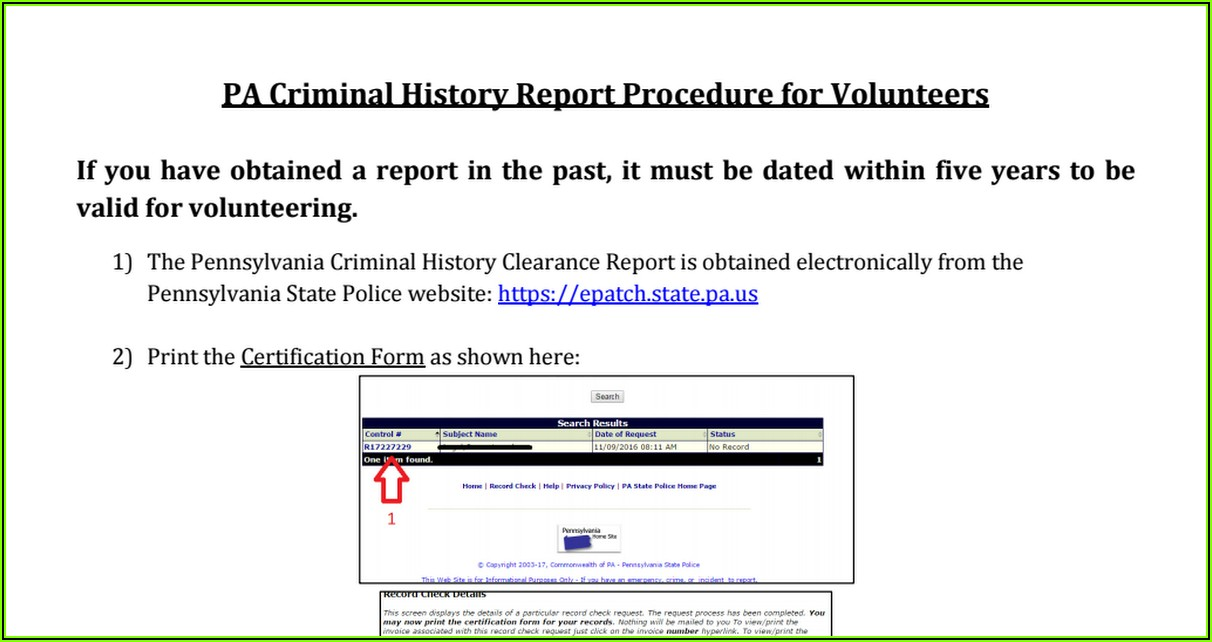 Pa Criminal Background Check Clearance Form