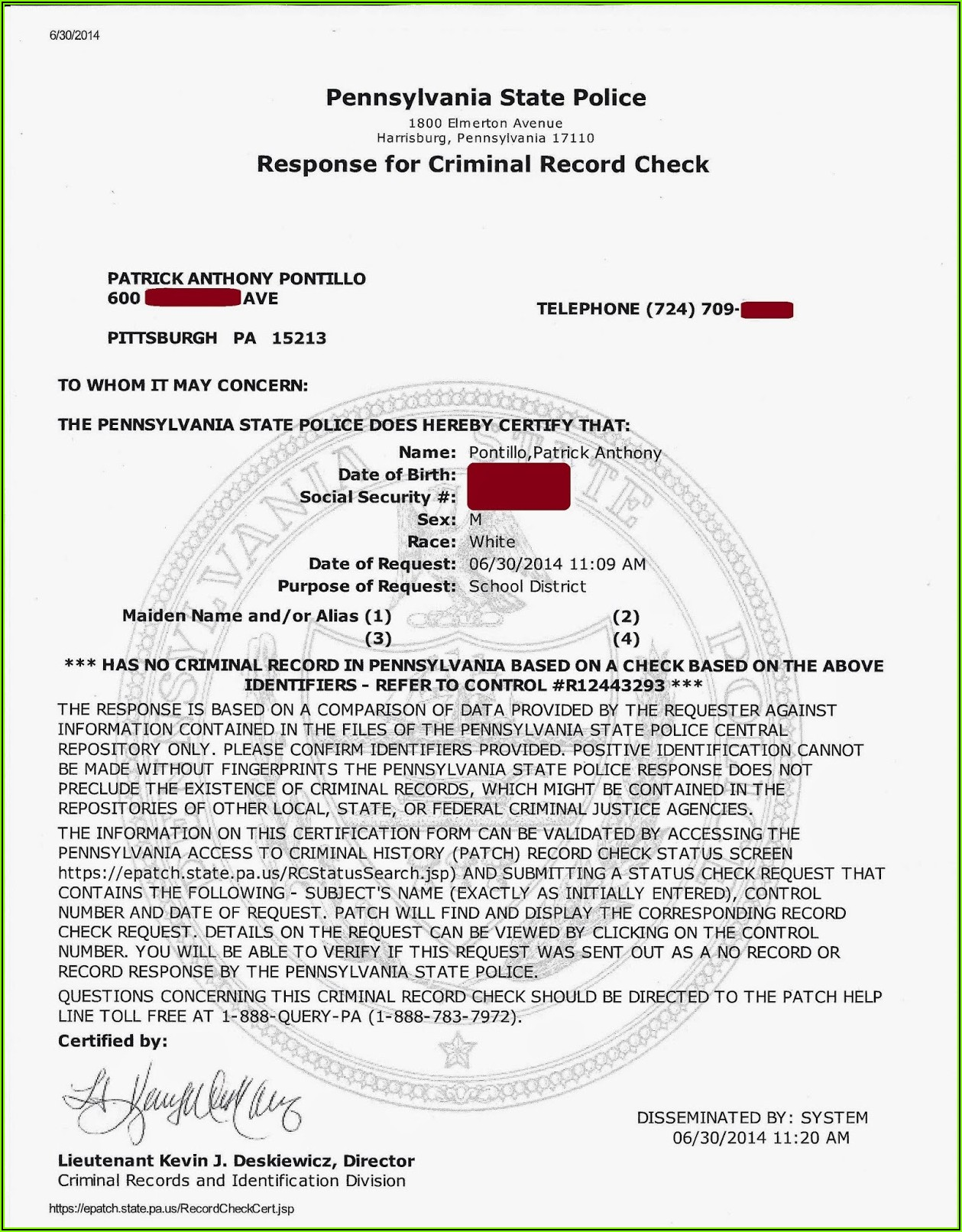 Pa State Police Criminal Background Check Form