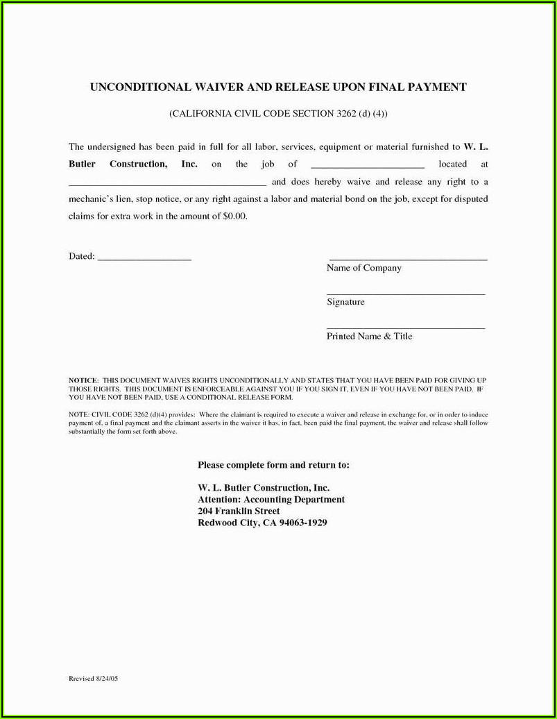 Partial Lien Waiver Form Indiana