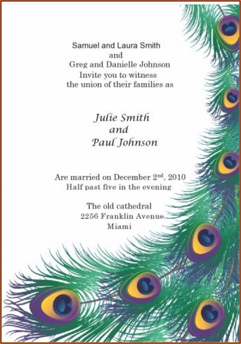 Peacock Birthday Invitations Templates Free