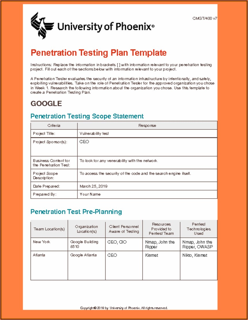 Penetration Testing Plan Example