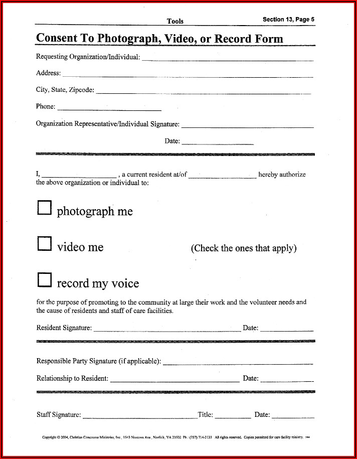 Photography Consent Form Template