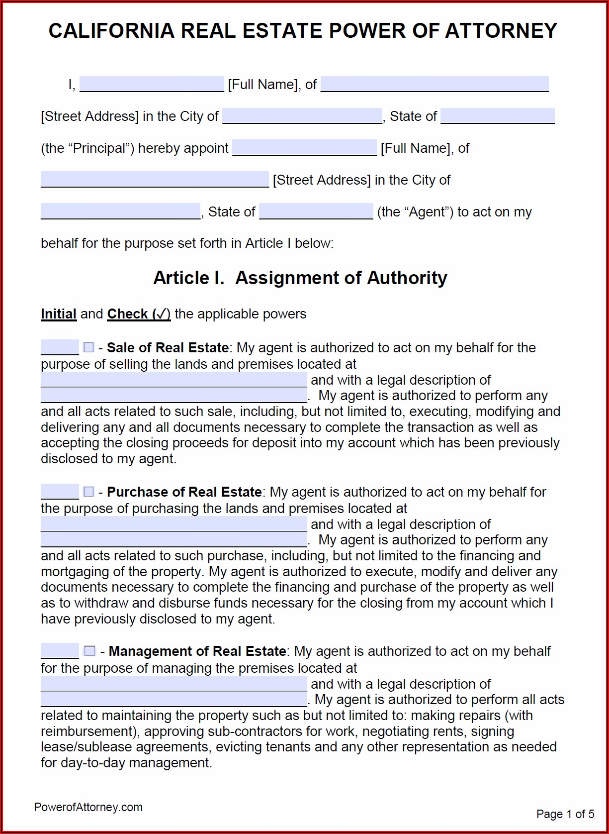 Power Of Attorney Form Free California