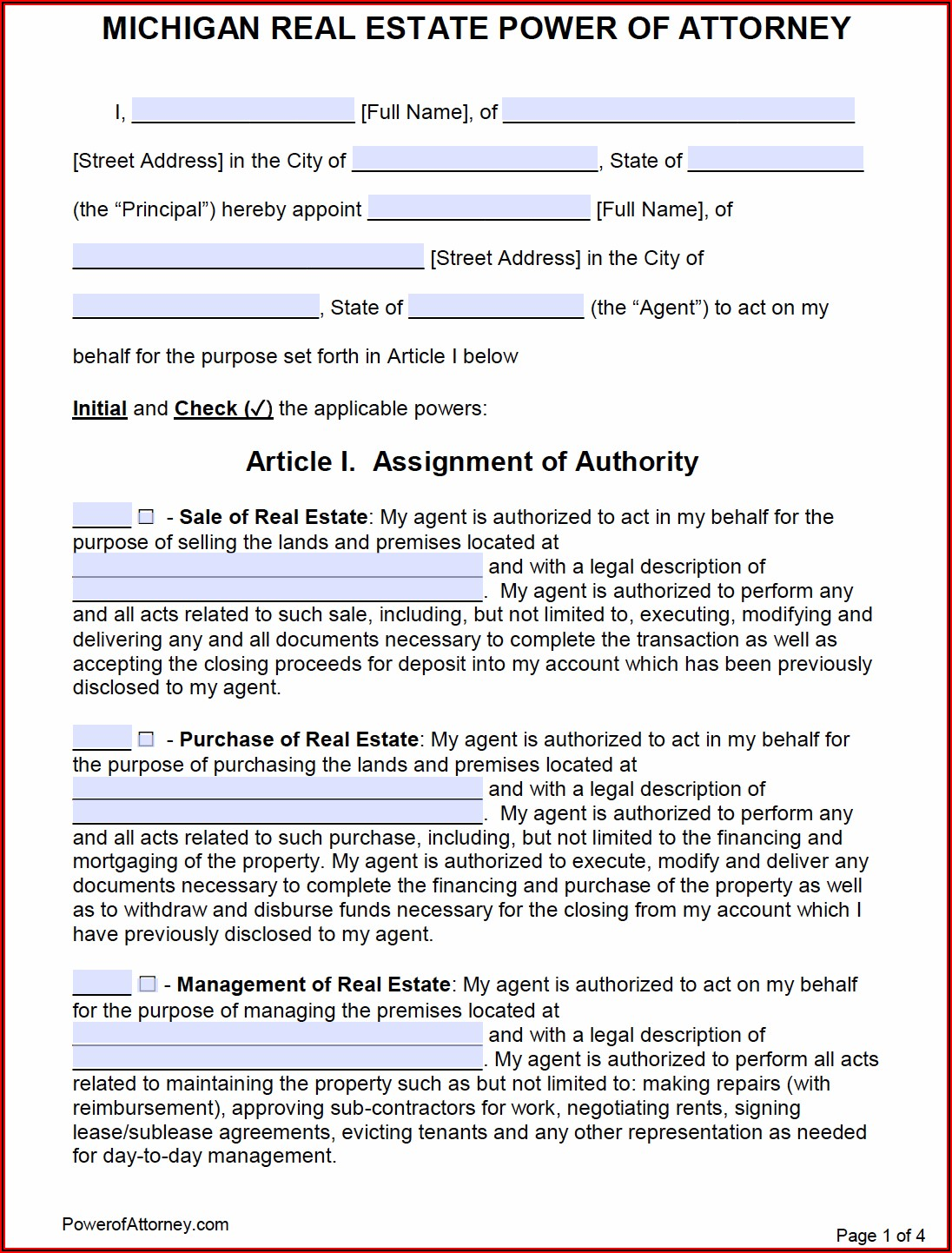 Power Of Attorney Form Free Printable Michigan