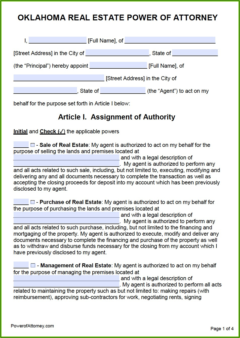 Power Of Attorney Form Oklahoma Free