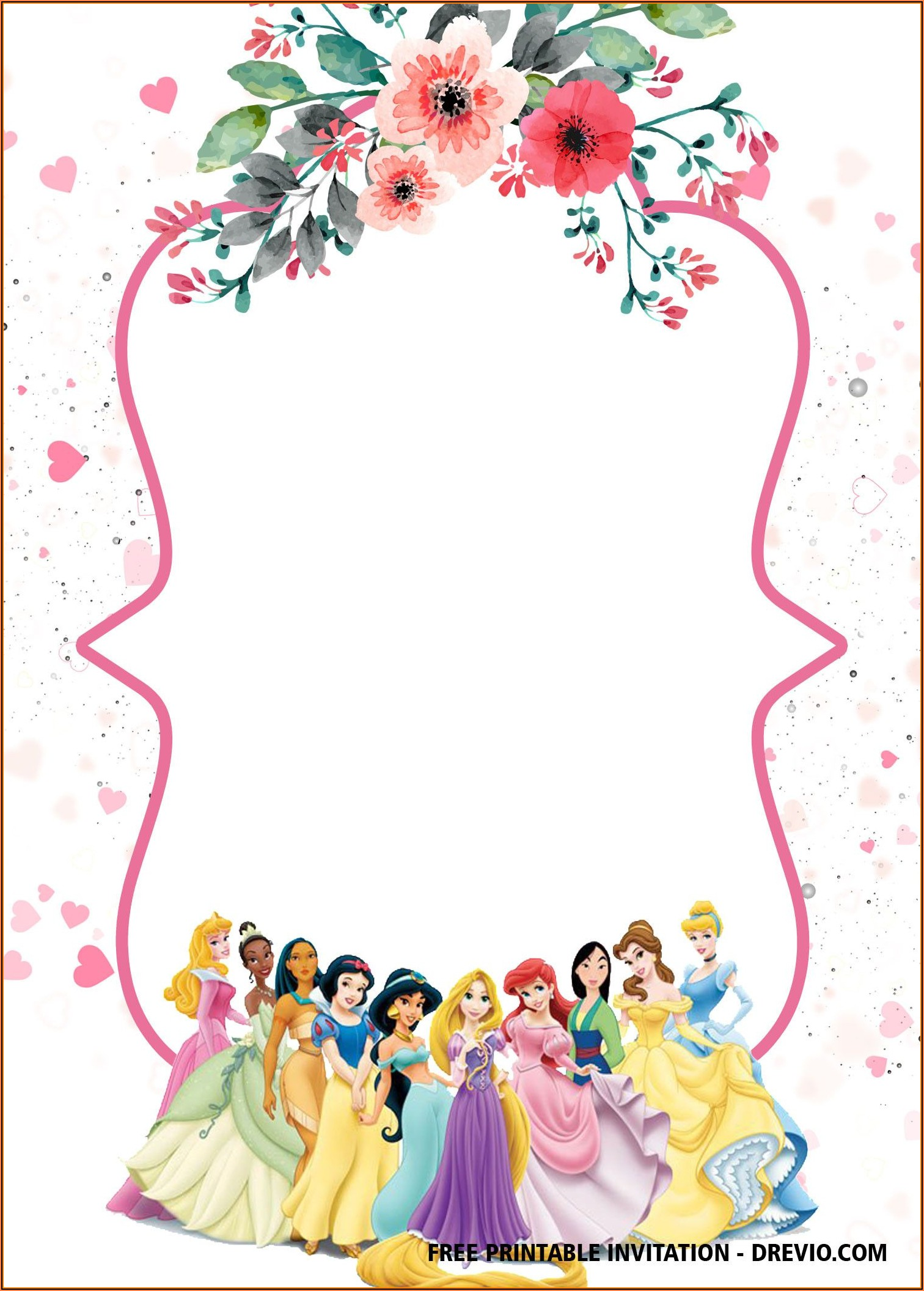 Princess Birthday Invitations Template Free Disney