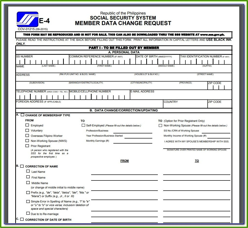 Printable Disability Application Form