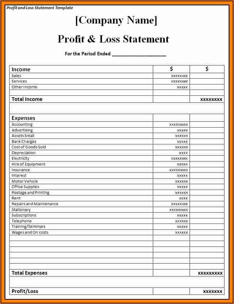 Profit Loss Statement Template Small Business