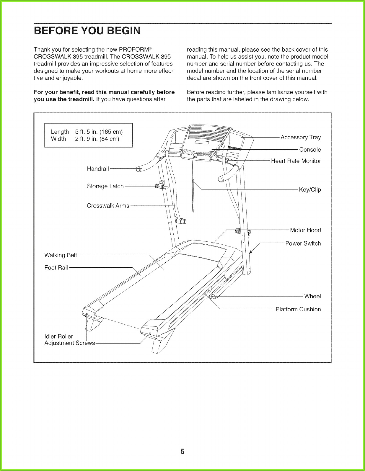 Proform Crosswalk 395 Manual