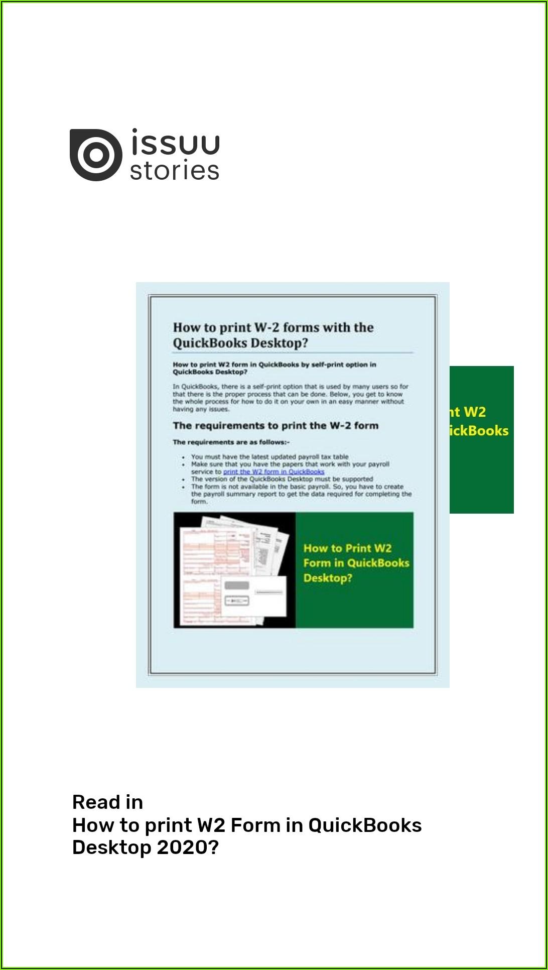 Quickbooks Desktop W 2 Forms