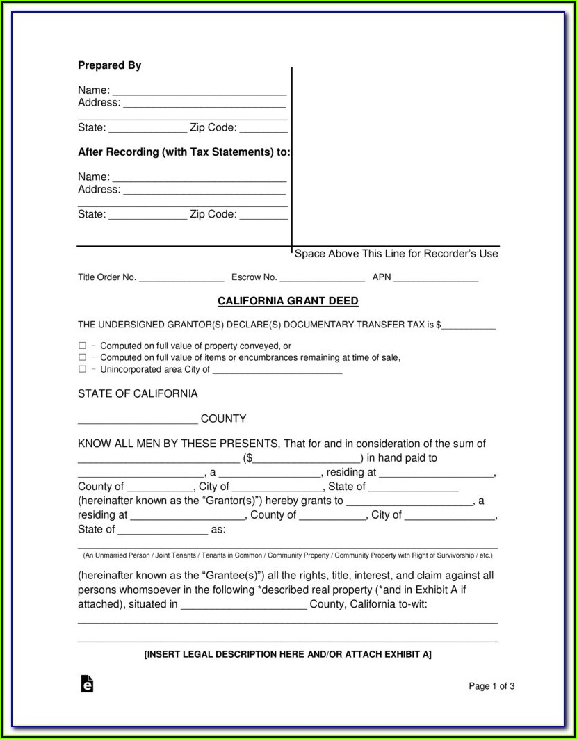 Quit Claim Deed Form San Bernardino County California