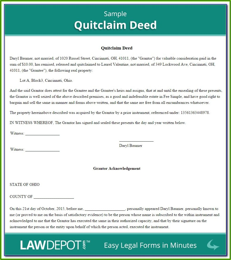 Quit Claim Deed Wi Form