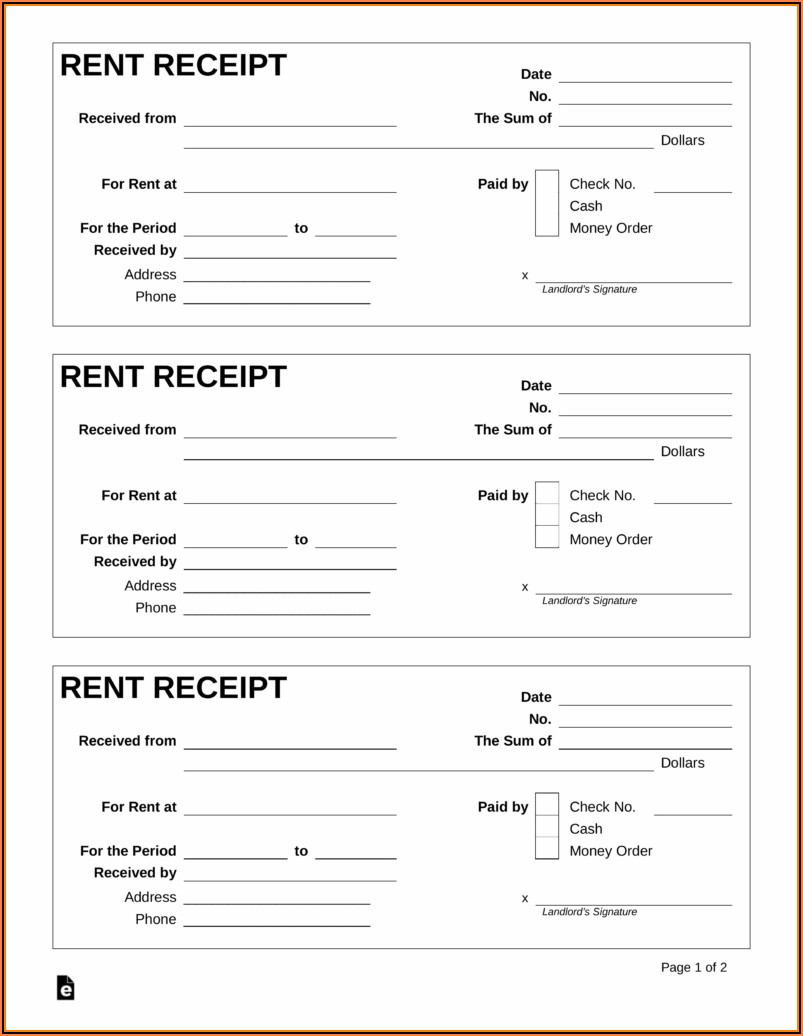 Receipt Template Fillable Pdf