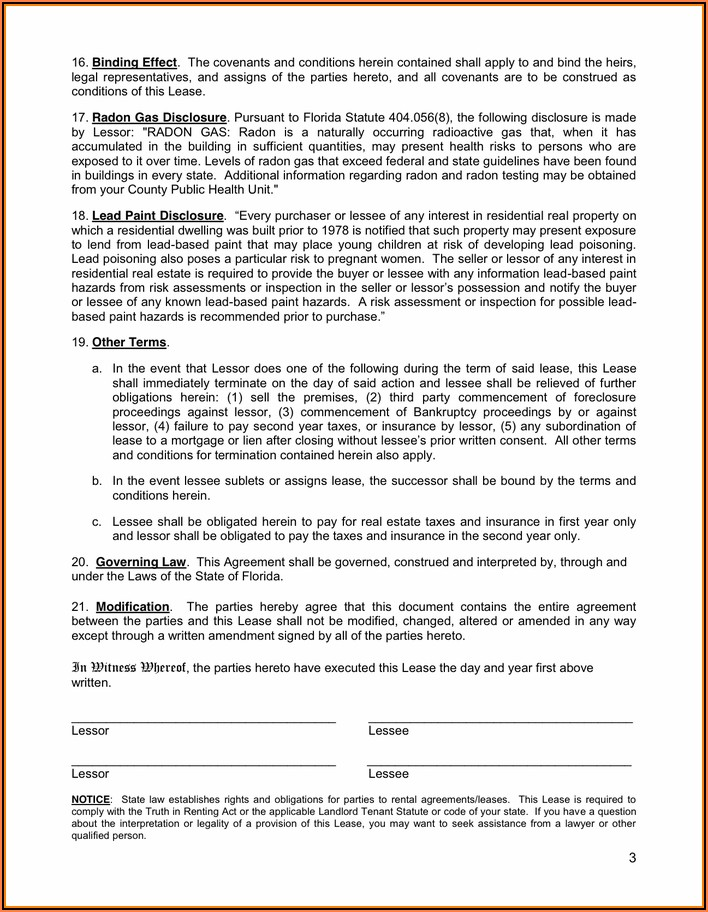 Rental Agreement Florida Template