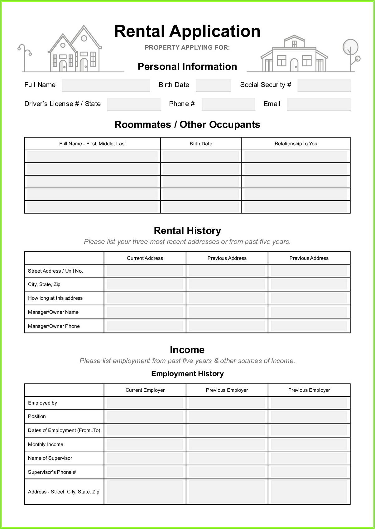 Rental Application Form Virginia Pdf