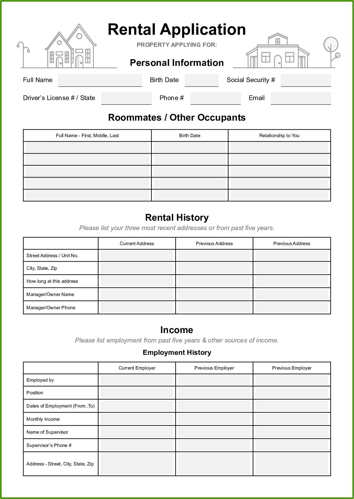 Rental Application Form Virginia Pdf