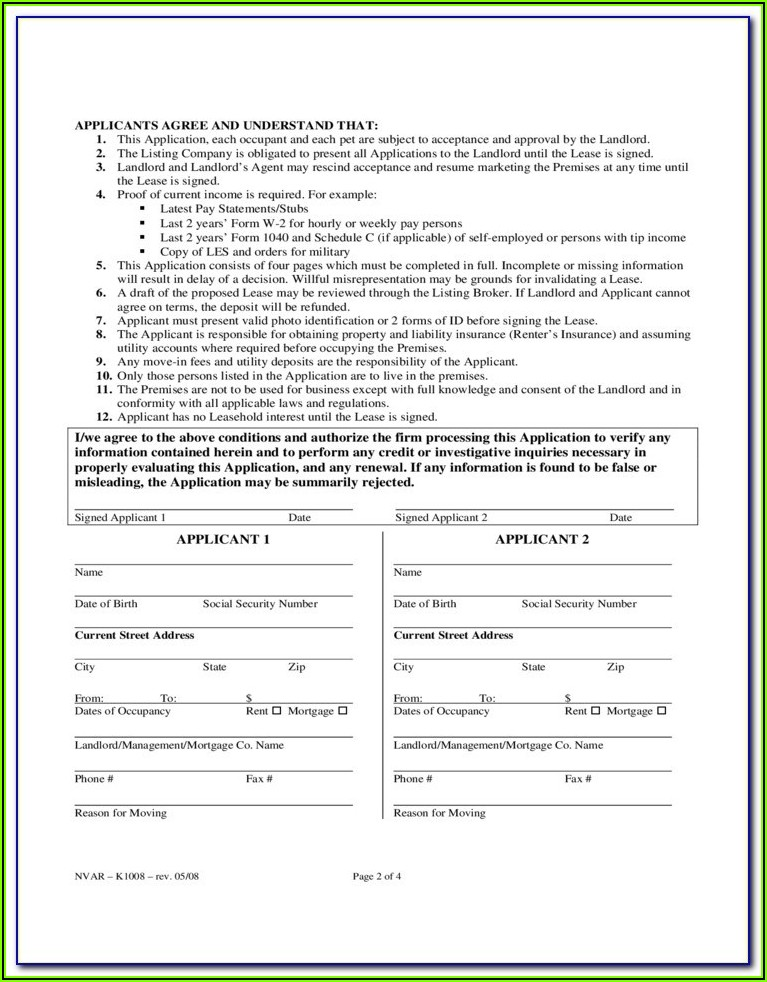 Rental Application Form Virginia
