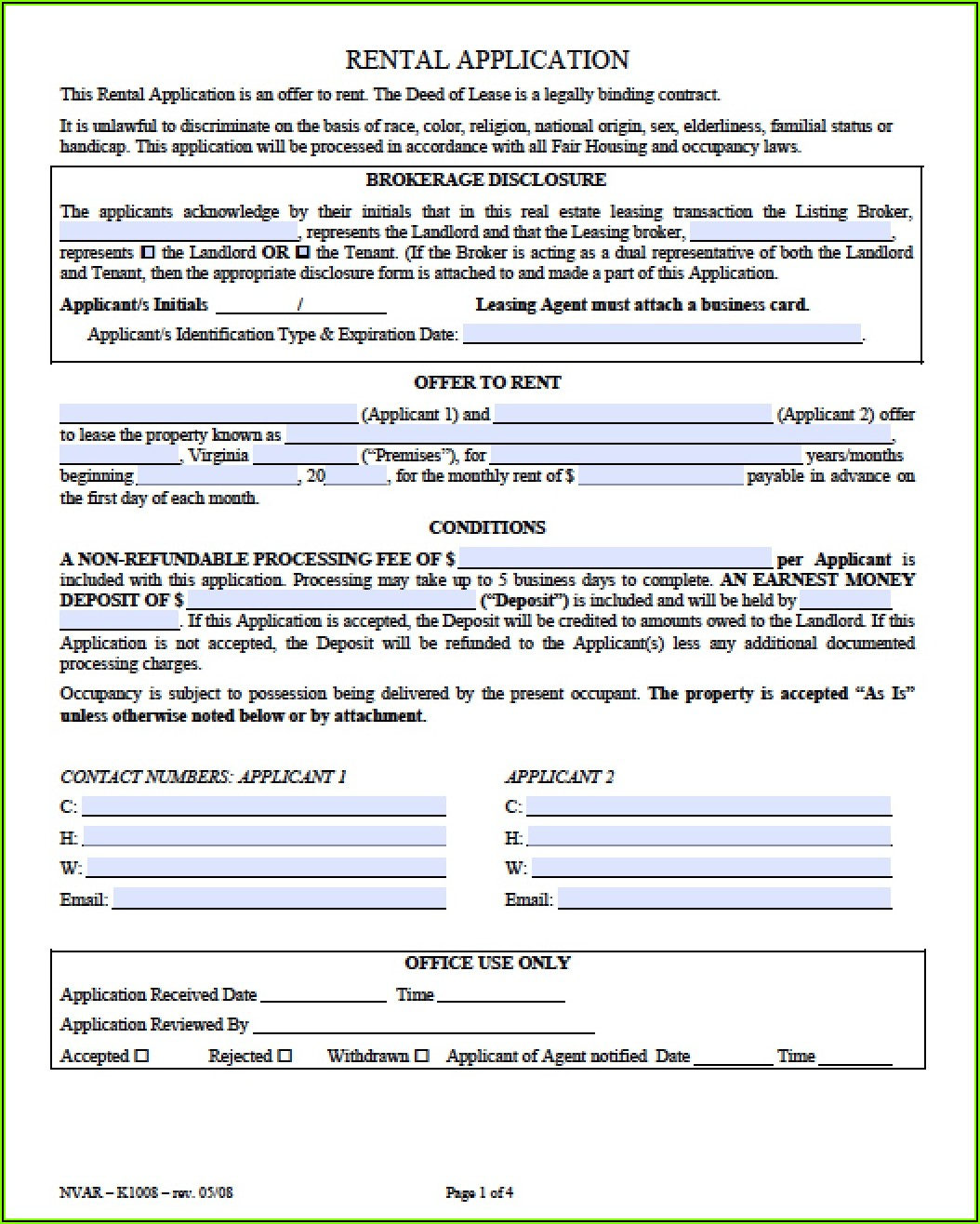 Rental Application Template Virginia