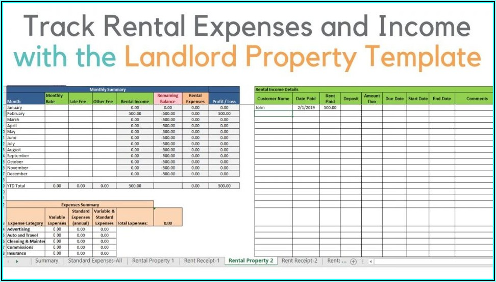 Rental Property Excel Template Free