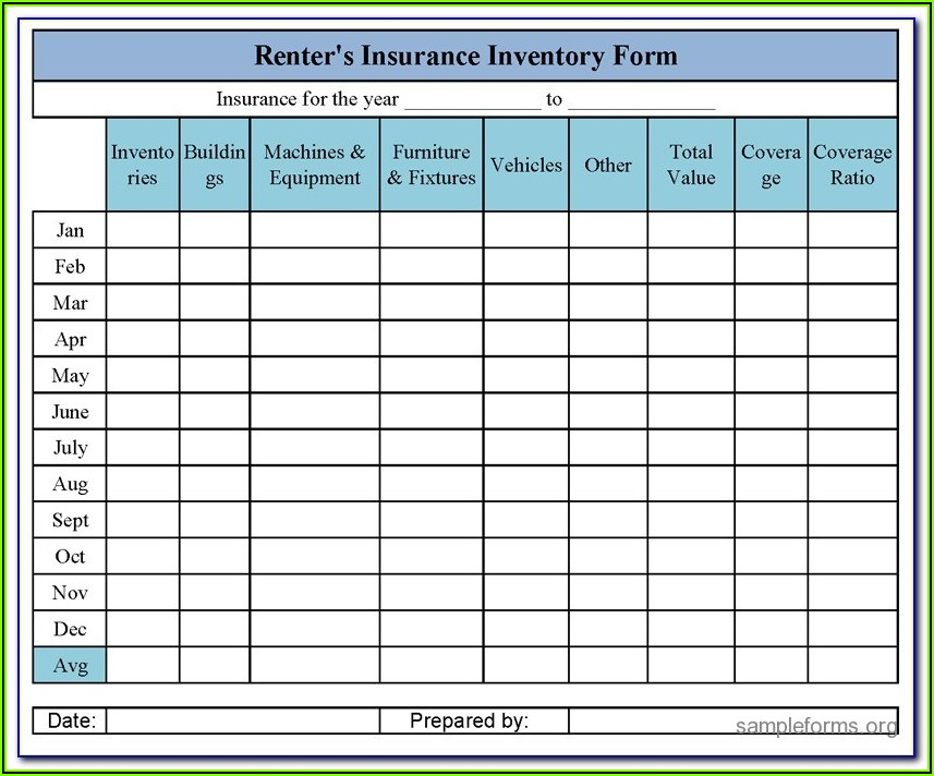 Renters Insurance Inventory Form