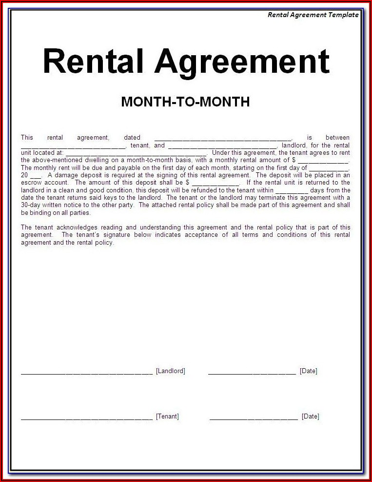 Renting Contract Format