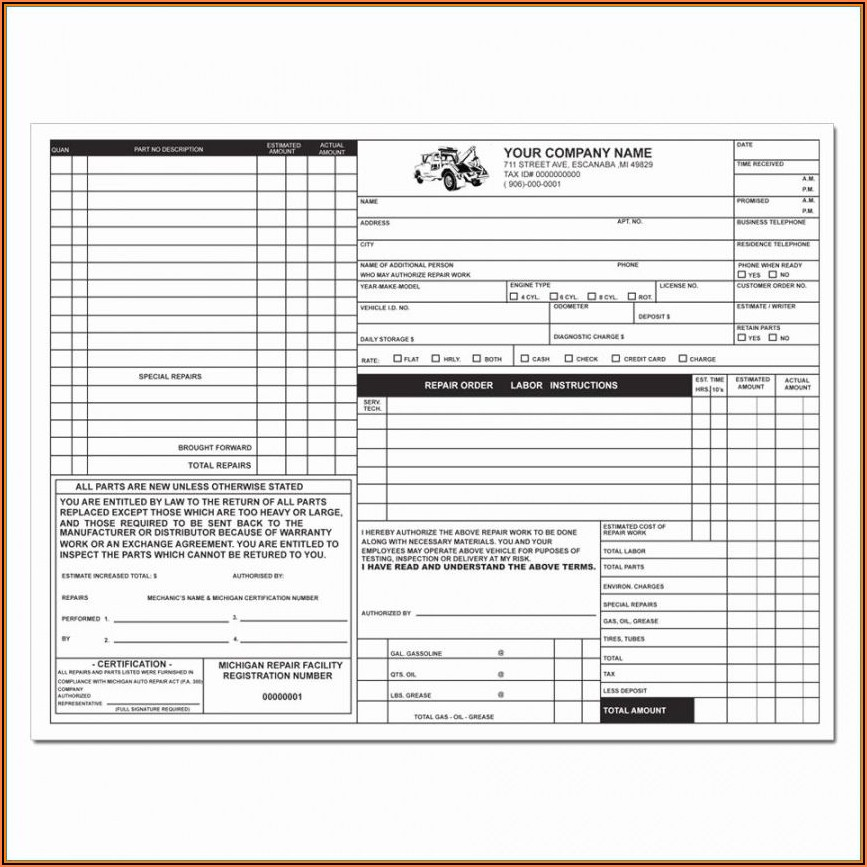 Repair Shop Receipt Template