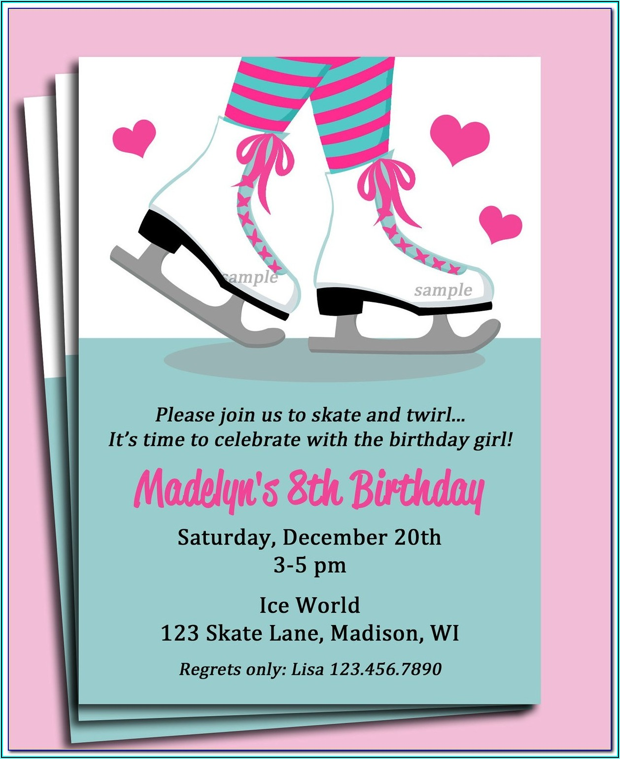 Roller Skating Birthday Invitations Templates