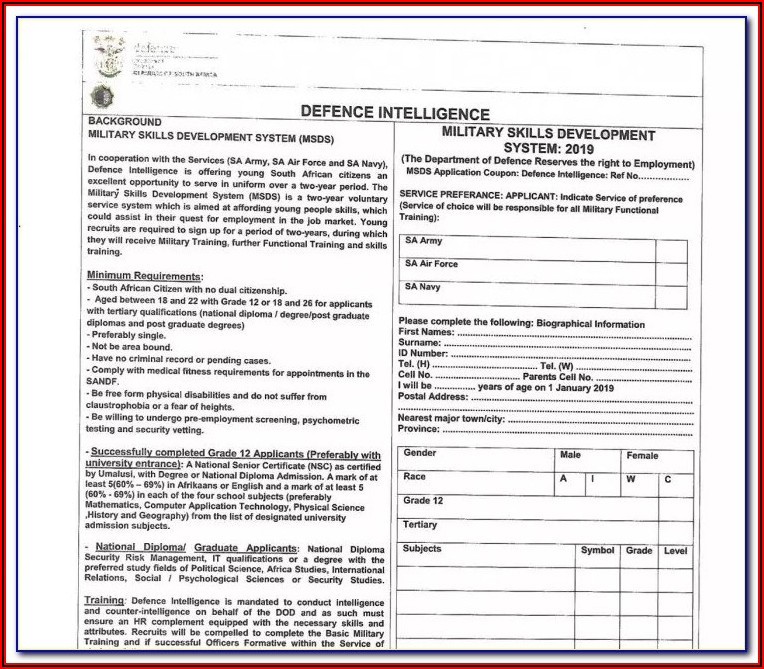 Sa Army Application Forms 2018 Download