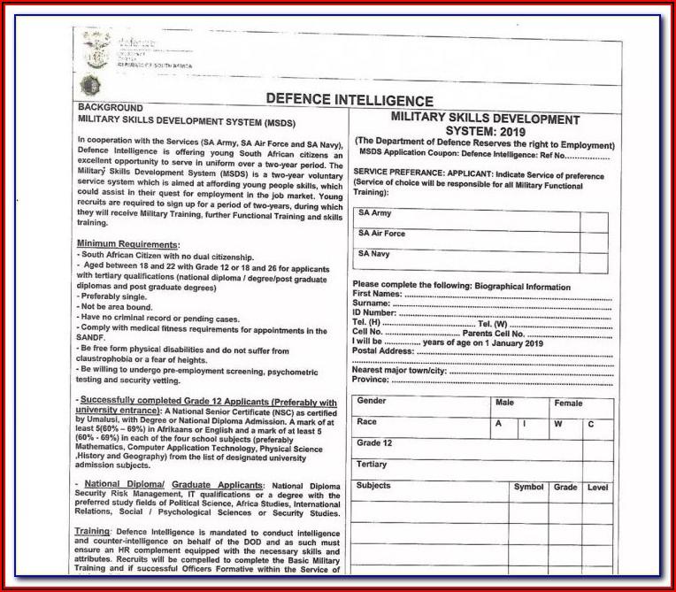 Sa Army Application Forms 2018 Download