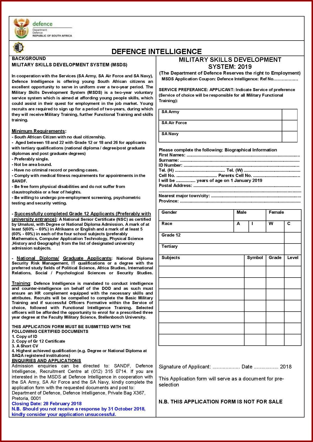Sa Army Application Forms 2018