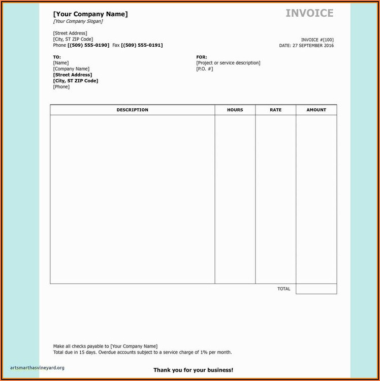 Sales Commission Invoice Template Word
