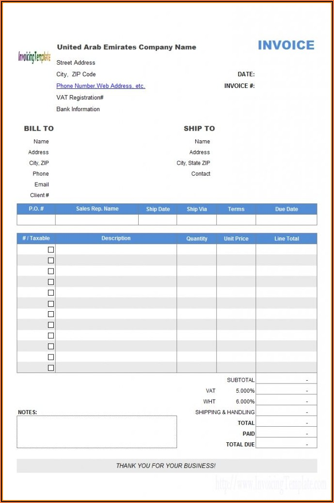 Sales Invoice Template Word