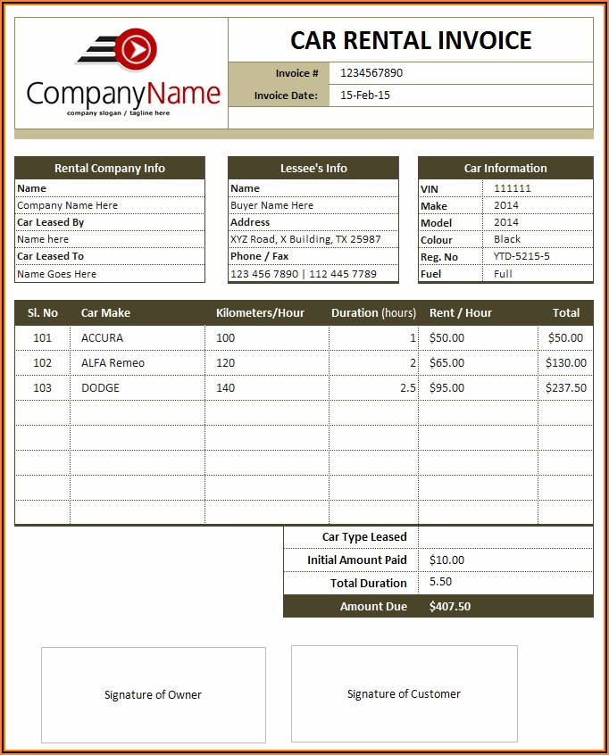 Sales Invoice Templates Word