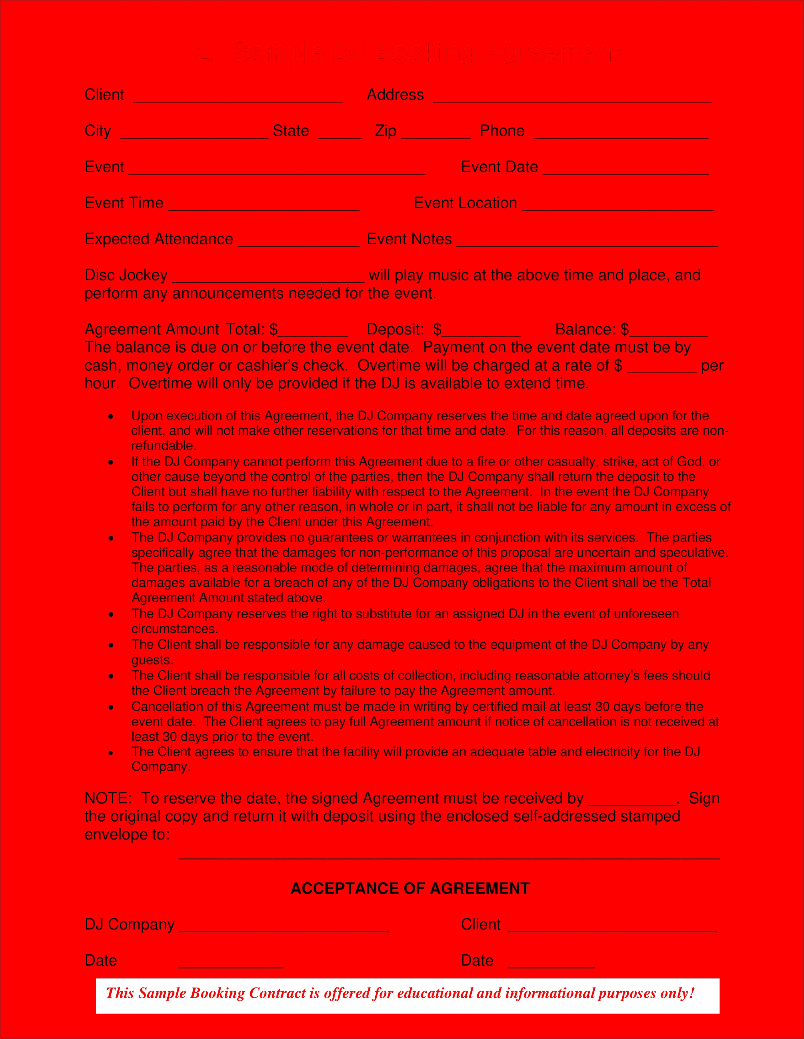 Sample Dj Contract Forms