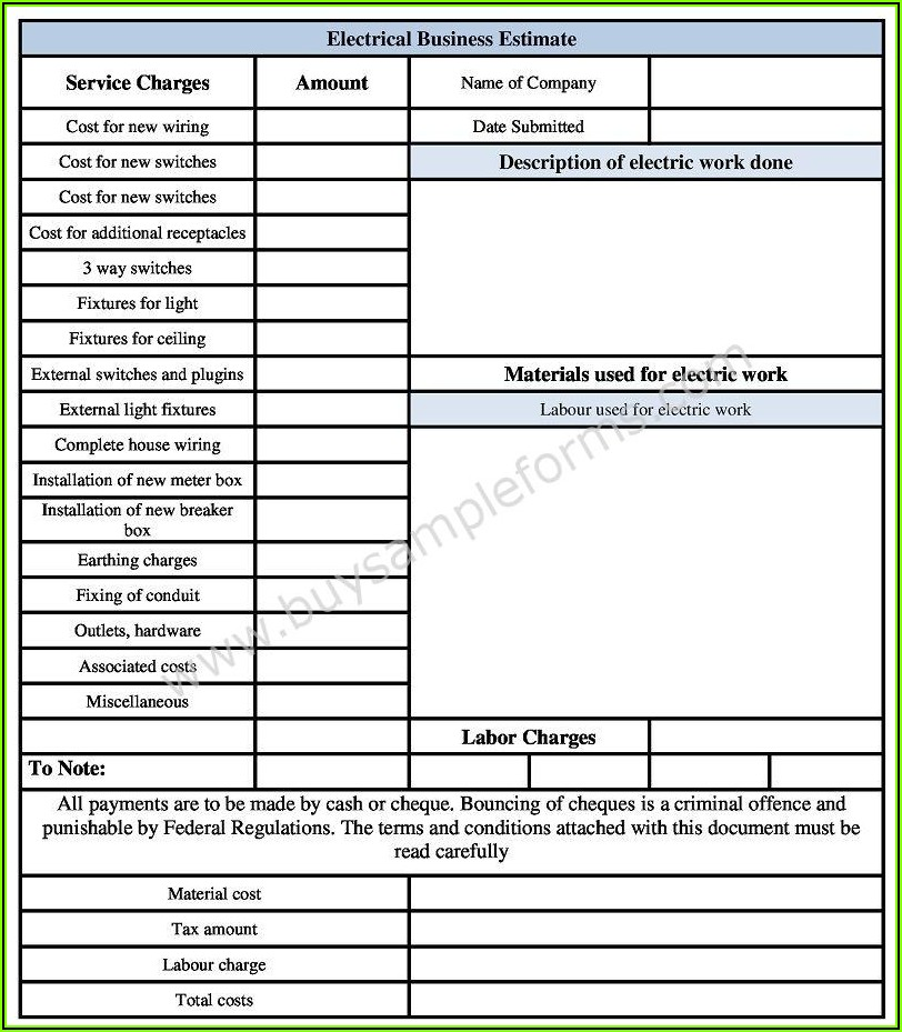 Sample Electrical Estimate Forms