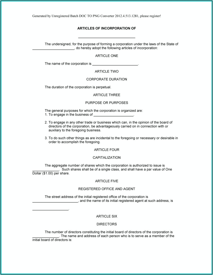 Sample Template Of Articles Of Incorporation