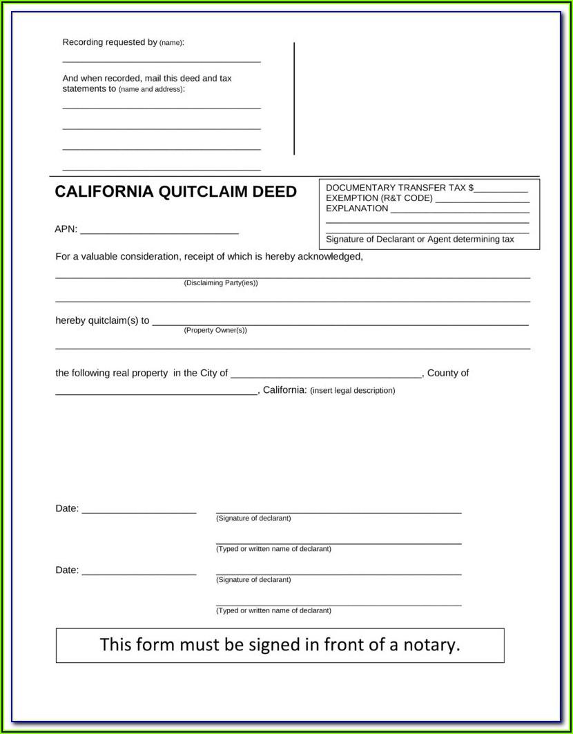 San Bernardino County Quit Claim Deed Form