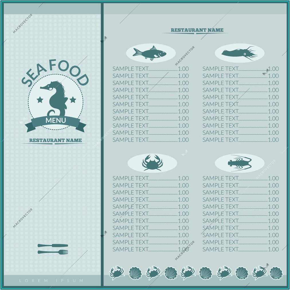 Seafood Restaurant Menu Template Free