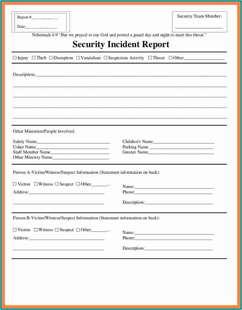 Security Incident Report Template
