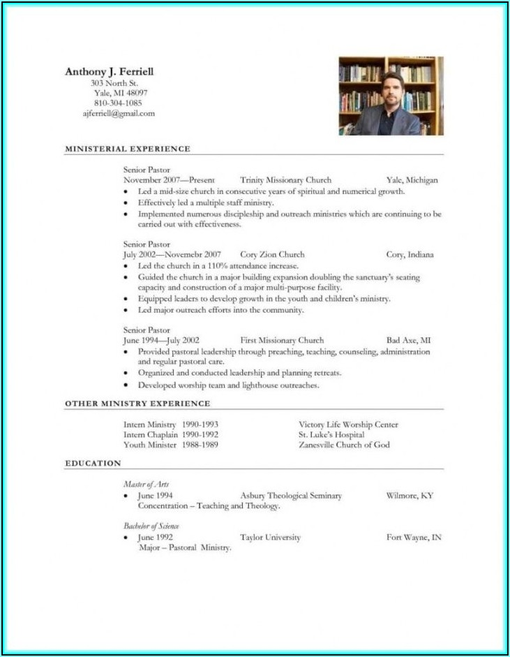 Senior Pastor Resume Template