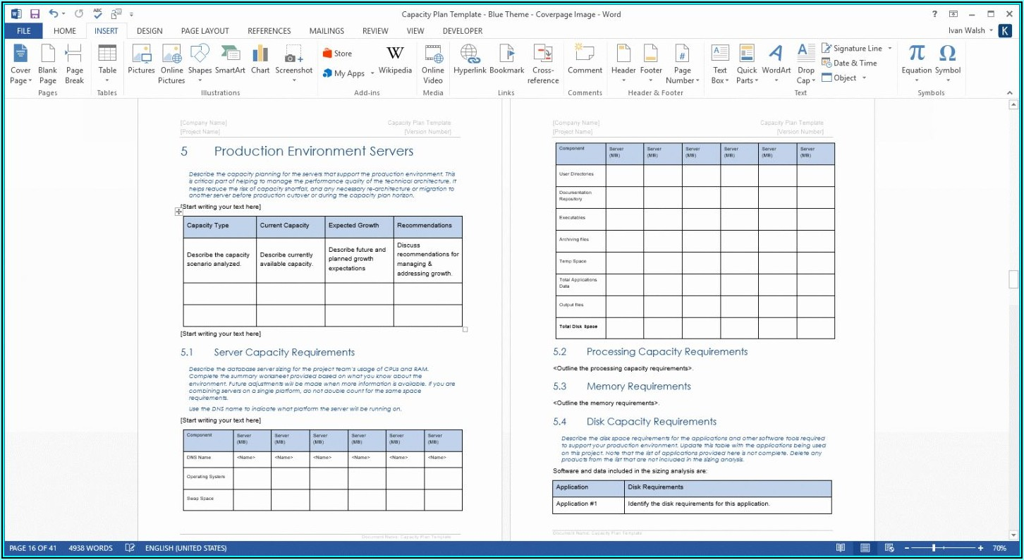 Server Capacity Planning Template Excel