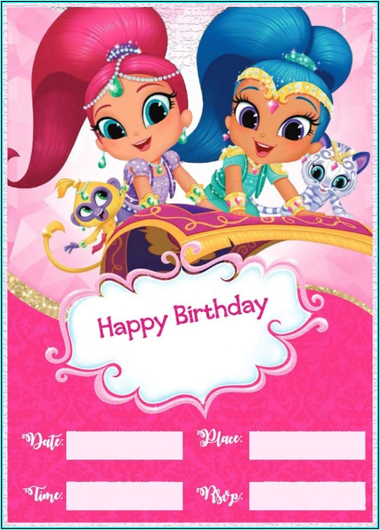 Shimmer And Shine Birthday Invitation Template